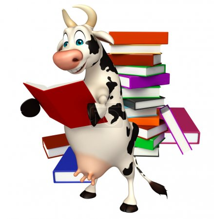 cute Cow cartoon character with book stack