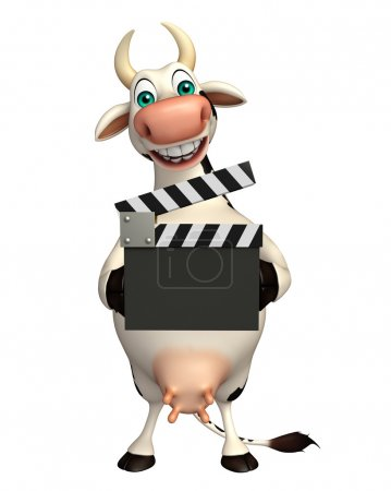 Cow cartoon character with clapper board