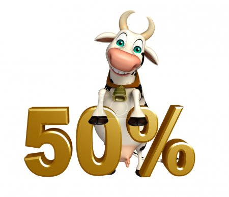cute Cow cartoon character with 50% sign