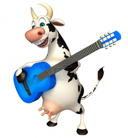 cute Cow cartoon character with guitar