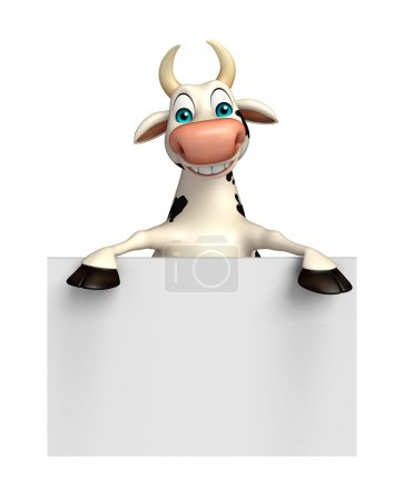Photo for 3d rendered illustration of Cow cartoon character with white board - Royalty Free Image