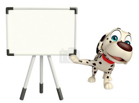 fun Dog cartoon character  with white board