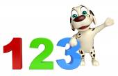 Dog cartoon character  with 123 sign