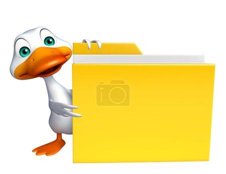cute Duck cartoon character with folder