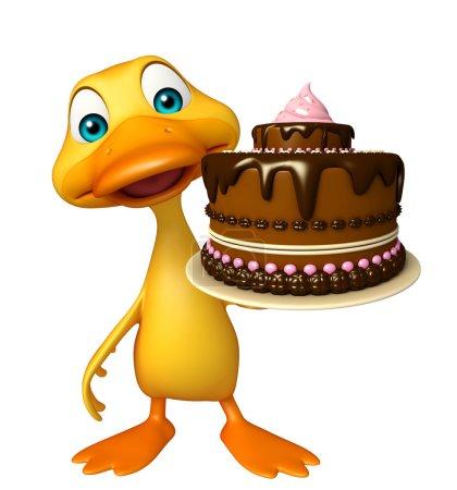 Photo pour Illustration en 3D du personnage de dessin animé Canard avec gâteau - image libre de droit