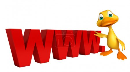 Duck cartoon character with www. sign