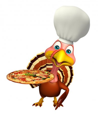 Turkey cartoon character  with chef hat and pizza