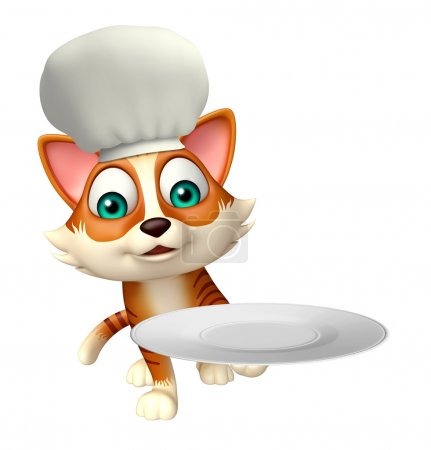 cat cartoon character with chef hat and dinner plate