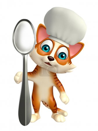 cat cartoon character with chef hat and spoons