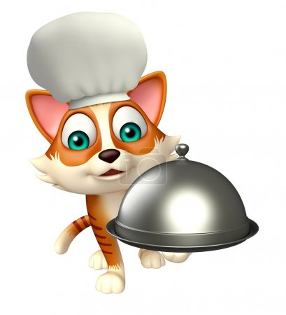 cat cartoon character with chef hat and cloche