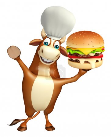 Bull cartoon character with chef hat and burger