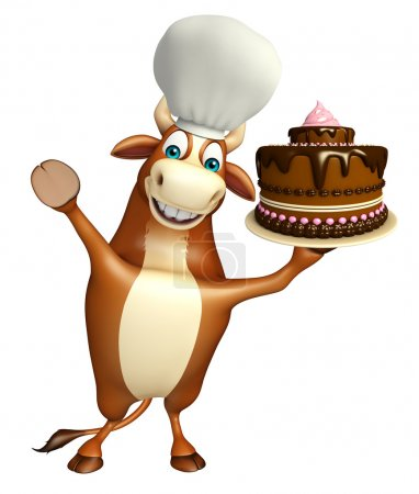 Bull cartoon character with cake and chef hat