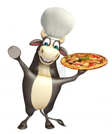 Bull cartoon character with chef hat and pizza