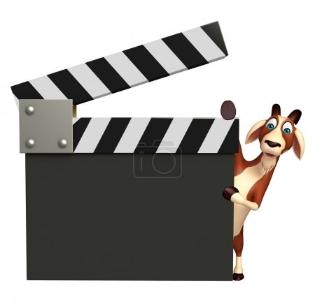 Goat cartoon character with clapper board
