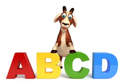 Goat cartoon character with ABCD sign