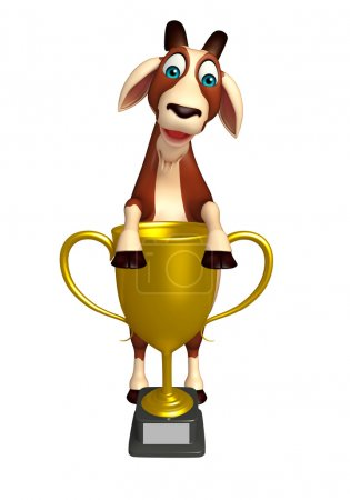 cute Goat cartoon character with winning cup