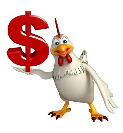 Photo pour Illustration en 3D du personnage de dessin animé Poule avec signe dollar - image libre de droit