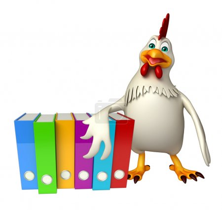 Hen cartoon character with files