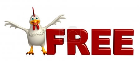 fun  Hen cartoon character with free sign