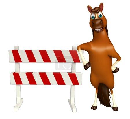 fun Horse cartoon character with baracade