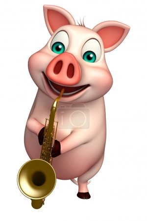 fun  Pig cartoon character with saxophone