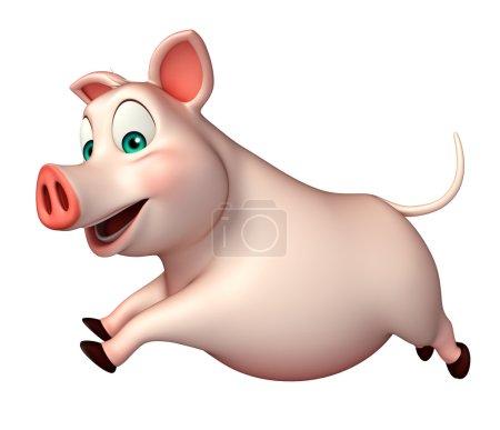 running Pig cartoon character