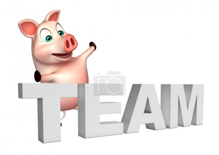 cute Pig cartoon character with team sign