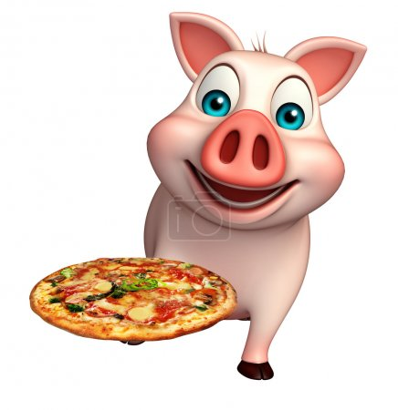 cute  Pig cartoon character with pizza