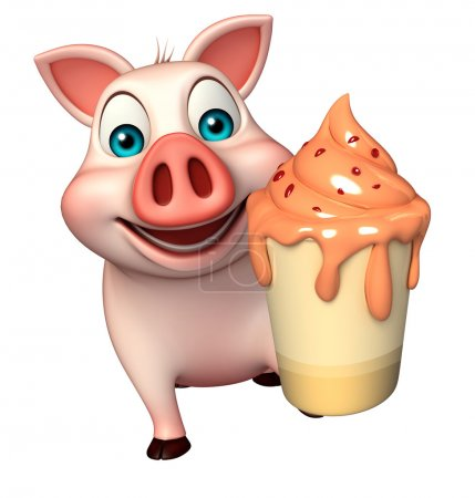 fun Pig cartoon character with ice-cream