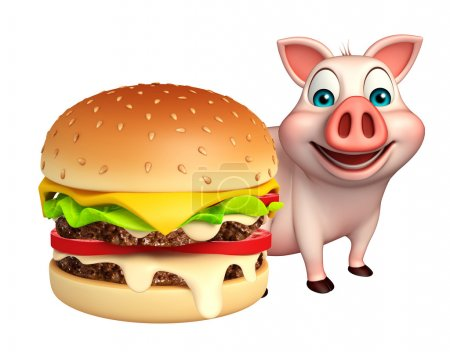 fun  Pig cartoon character with bueger