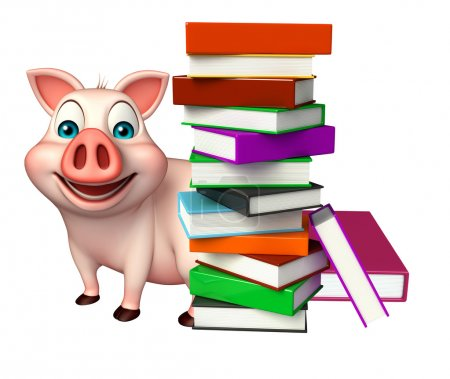 Fun  Pig cartoon character with books