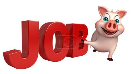 fun Pig cartoon character with job sign