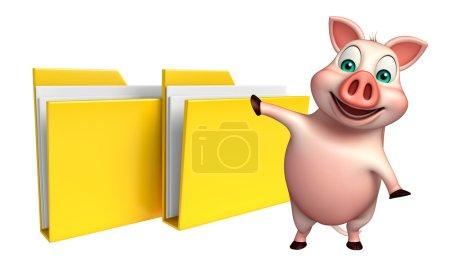 fun  Pig cartoon character with folder