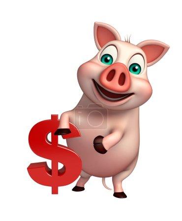 Photo pour Illustration en 3D du personnage de dessin animé Cochon avec signe dollar - image libre de droit