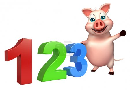 cute Pig cartoon character with 123 sign