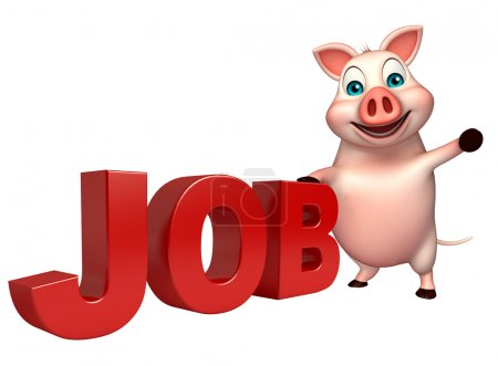 fun Pig cartoon character with job sign