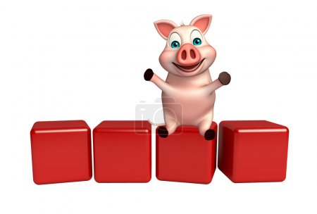 cute  Pig cartoon character with level