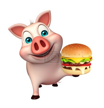 Photo pour 3D illustration rendue de personnage de dessin animé de cochon avec bueger - image libre de droit