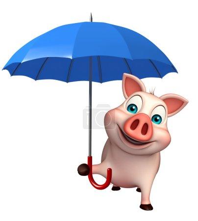 cute Pig cartoon character with umbrella