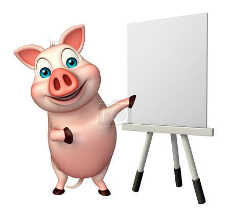 cute Pig cartoon character  with easel board