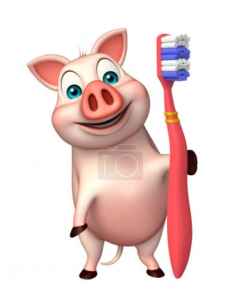 cute Pig cartoon character with toothbrush