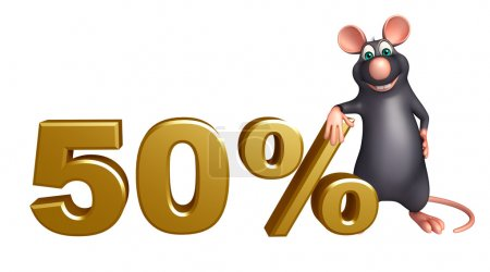 cute Rat cartoon character with 50% sign
