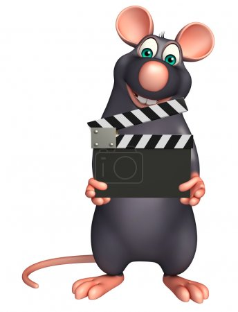 cute  Rat cartoon character with clapboard