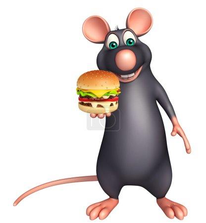 Photo pour 3D illustration rendue de personnage de dessin animé de Rat avec burger - image libre de droit