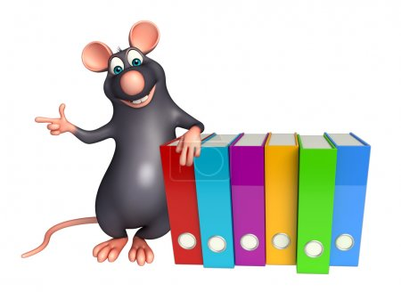 Rat cartoon character  with files