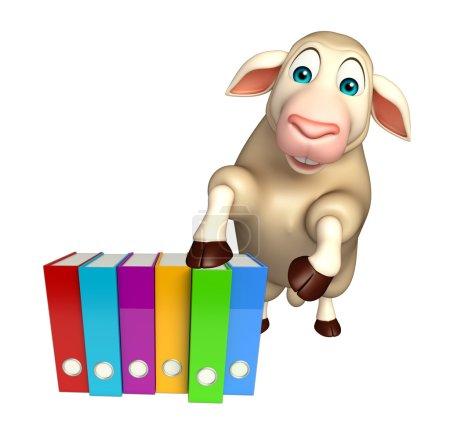 fun Sheep cartoon character with files