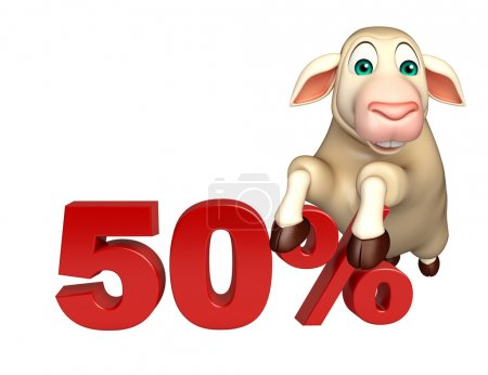 cute Sheep cartoon character  with 50% sign