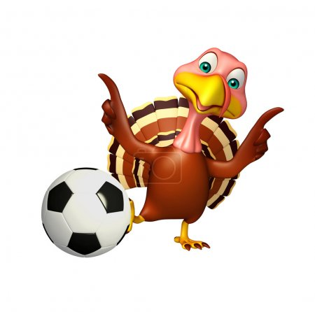 Fun Turkey  cartoon character  with football