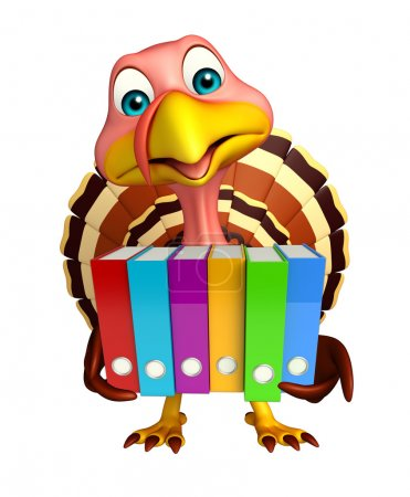 Turkey cartoon character with files