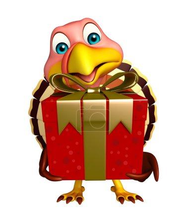 fun Turkey cartoon character with giftbox